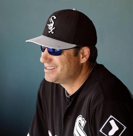 Chicago White Sox manager Robin Ventura looks on from the dugout during their MLB Cactus League spring training baseball game against the Milwaukee Brewers in Glendale, Arizona, March 21, 2013. REUTERS/Ralph D. Freso