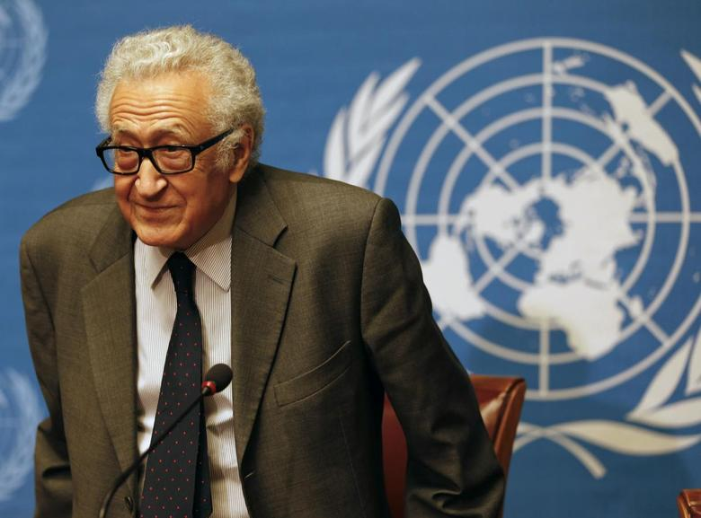 U.N.-Arab League envoy for Syria Lakhdar Brahimi arrives at a news conference at the U.N. headquarter in Geneva January 24, 2014. REUTERS/Jamal Saidi