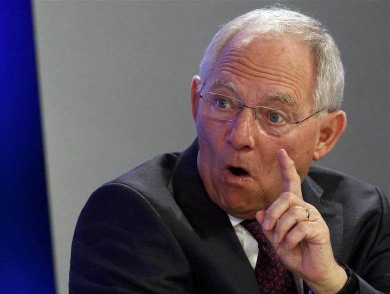 German Finance Minister Wolfgang Schaeuble speaks during a session at the World Economic Forum (WEF) in Davos January 25, 2014. REUTERS/Ruben Sprich