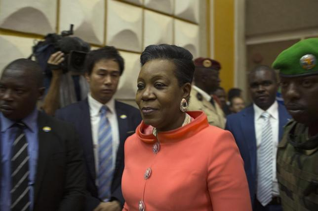 Newly parliamentary-elected interim President of the Central African Republic Catherine Samba-Panza walks into the National Assembly prior to her swearing-in ceremony in the capital Bangui January 23, 2014. REUTERS/Siegfried Modola
