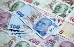 Turkish lira banknotes are seen in this photo illustration taken in Istanbul January 7, 2014. REUTERS/Murad Sezer