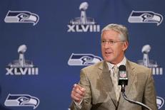 Seattle Seahawks head coach Pete Carroll speaks during a news conference after the team's arrival for Super Bowl XLVIII against the Denver Broncos in Jersey City, New Jersey, January 26, 2014. REUTERS/Adam Hunger