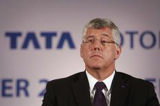 Karl Slym, managing director of Tata Motors, looks on during a news conference to announce their second quarter results in Mumbai November 8, 2013. REUTERS/Danish Siddiqui