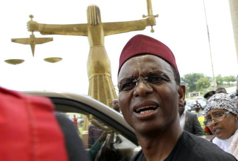 Former Nigerian Minister of the Federal Capital Territory Nasir El-Rufai speaks during his appearance at the Federal High court in the capital Abuja May 12, 2010. REUTERS/Afolabi Sotunde