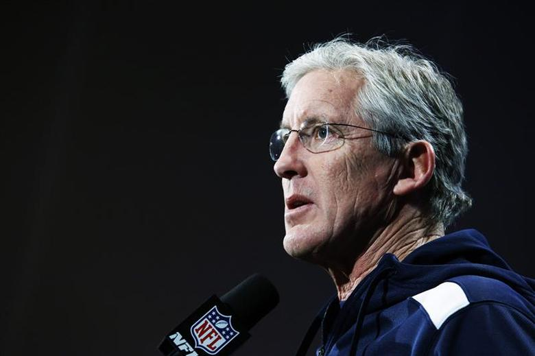 Seattle Seahawks head coach Pete Carroll speaks during a news conference at Newport in New Jersey, January 27, 2014. REUTERS/Eduardo Munoz