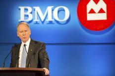 Bank of Montreal (BMO) Chairman of the Board J. Robert S. Prichard speaks at the BMO annual general meeting of shareholders in Saskatoon, Saskatchewan April 10, 2013. REUTERS/Derek Mortensen