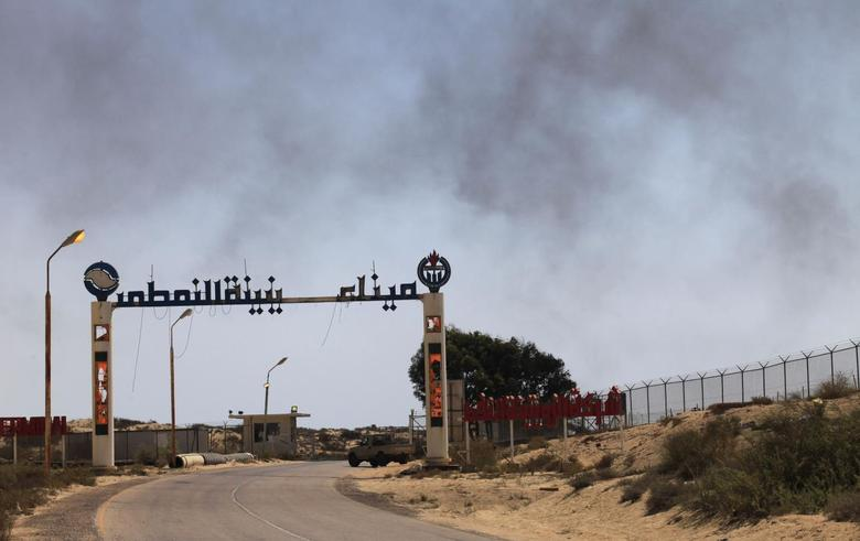 The entrance to Zueitina oil terminal is seen in Zueitina, about 120 km (75 miles) west of Benghazi July 18, 2013. Almost every week, Prime Minister Ali Zeidan either tries to cajole the fighters choking off Libya's crude exports or threatens to break their blockade by force. REUTERS/Esam Omran Al-Fetori