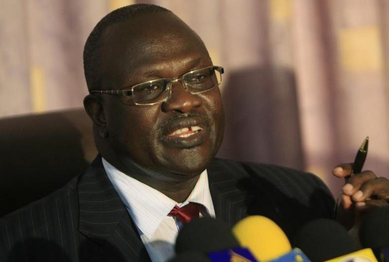 SSouth Sudan's Vice President Riek Machar speaks during a news conference after meeting north Sudan's Vice President Ali Osman Mohamed Taha in Khartoum, May 30, 2011, to discuss the disputed Abyei region. REUTERS/Mohamed Nureldin Abdallah