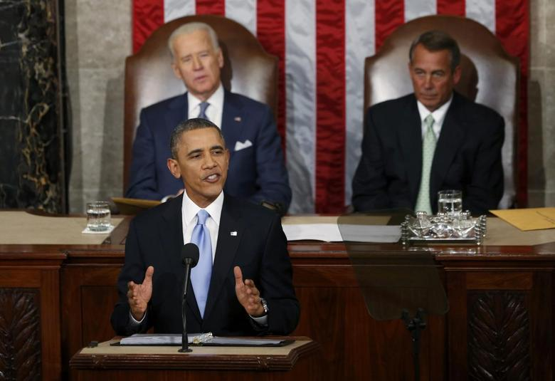 U.S. President Barack Obama delivers his State of the Union address in front of the U.S. Congress, on Capitol Hill in Washington, January 28, 2014. REUTERS/Kevin Lamarque
