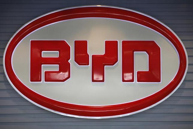 The logo of BYD (Build Your Dreams) is seen inside a showroom in Shenzhen, China's southern Guangdong province July 27, 2009. REUTERS/Tyrone Siu