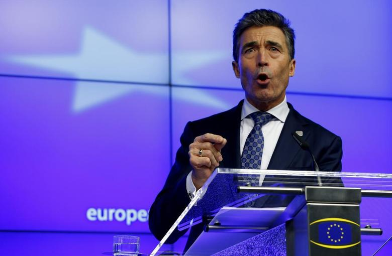 NATO Secretary General Anders Fogh Rasmussen holds a news conference while taking part in a European Union leaders summit at the EU council headquarters in Brussels December 19, 2013. REUTERS/Yves Herman