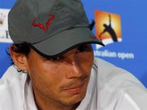 Rafael Nadal of Spain attends a news conference after losing his men's singles final match against Stanislas Wawrinka of Switzerland at the Australian Open 2014 tennis tournament in Melbourne January 26, 2014. REUTERS/Bobby Yip