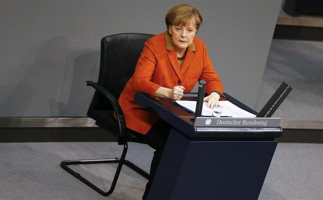 German Chancellor Angela Merkel makes a point during her speech at the German lower house of parliament Bundestag in Berlin January 29, 2014. REUTERS/Tobias Schwarz