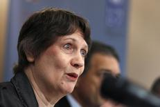 "Helen Clark, head of the United Nations Development Programme (UNDP), speaks during a news conference after launching a report on ""Water Governance in the Arab Region"" in Manama November 28, 2013 file photo. REUTERS/Hamad I Mohammed"