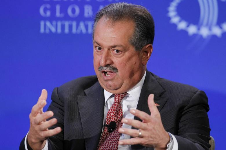 Andrew Liveris, Chairman and CEO of the Dow Chemical Company, participates in a group discussion on ''Business by Design: Business with Integrity'' during the second day of the Clinton Global Initiative 2012 (CGI) in New York on September 24, 2012. REUTERS/Lucas Jackson