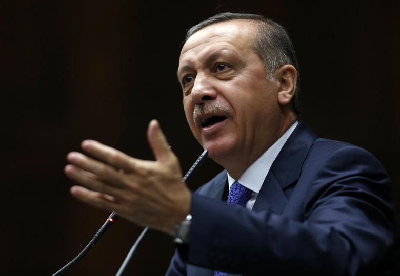Turkey's Prime Minister Tayyip Erdogan addresses members of parliament from his ruling AK Party (AKP) during a meeting at the Turkish parliament in Ankara January 28, 2014. REUTERS/Umit Bektas