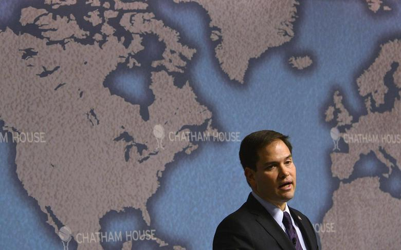 U.S. Republican Senator Marco Rubio delivers his keynote speech entitled 'American Leadership and the future of the Transatlantic Alliance' at Chatham House in London December 3, 2013. REUTERS/Toby Melville