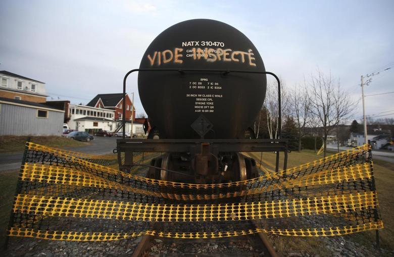 A tanker with an inscription which reads, ''empty and inspected'', is pictured on the rail track in Lac-Megantic, November 21, 2013. REUTERS/Mathieu Belanger