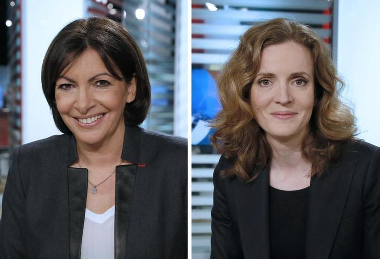 A two-way combo shows Paris mayoral candidates Anne Hidalgo (L), Paris deputy mayor and Socialist Party member and Nathalie Kosciusko-Morizet (R), conservative UMP political party member at the LCI studios in Boulogne-Billancourt before taking part in a televised debate, January 29, 2014. REUTERS/Patrick Kovarik/Pool