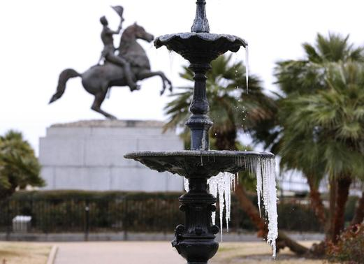 Icicles are seen forming on a fountain during winter at Jackson Square Park in New Orleans, Louisiana January 29, 2014. REUTERS/Jonathan Bachman