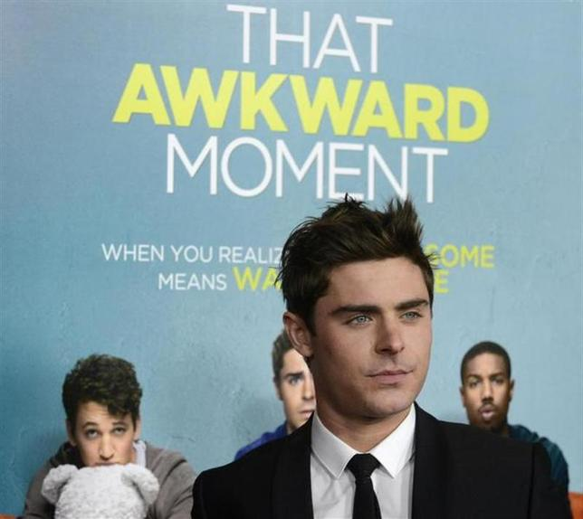 Cast member Zac Efron attends the premiere of the film ''That Awkward Moment'' in Los Angeles January 27, 2014. REUTERS/Phil McCarten
