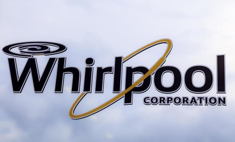 A Whirlpool logo is seen on the door at the Whirlpool manufacturing plant in Cleveland, Tennessee August 21, 2013. REUTERS/Chris Berry