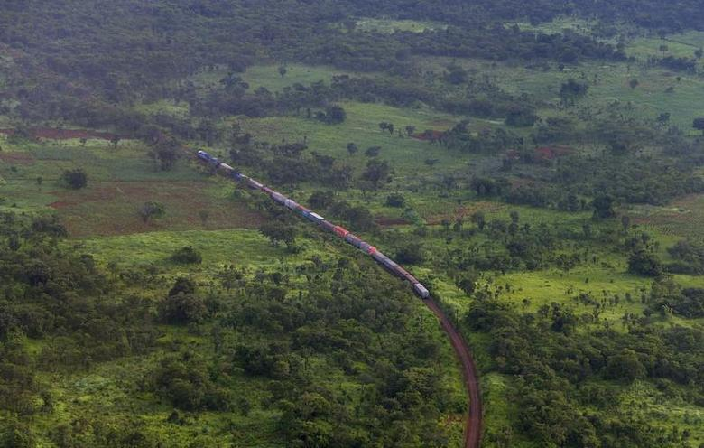 A train is seen from a helicopter in the southern Congolese province of Katanga, January 29, 2013. REUTERS/Jonny Hogg