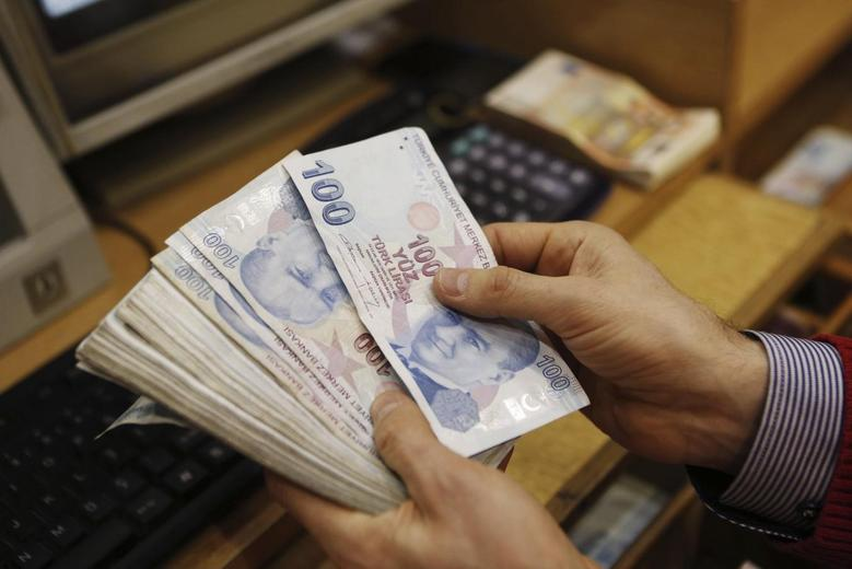 A money changer counts Turkish lira bills at a currency exchange office in central Istanbul January 29, 2014. REUTERS/Murad Sezer