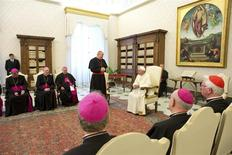 Pope Francis attends a meeting with Austrian bishops at the Vatican January 30, 2014. REUTERS/Osservatore Romano