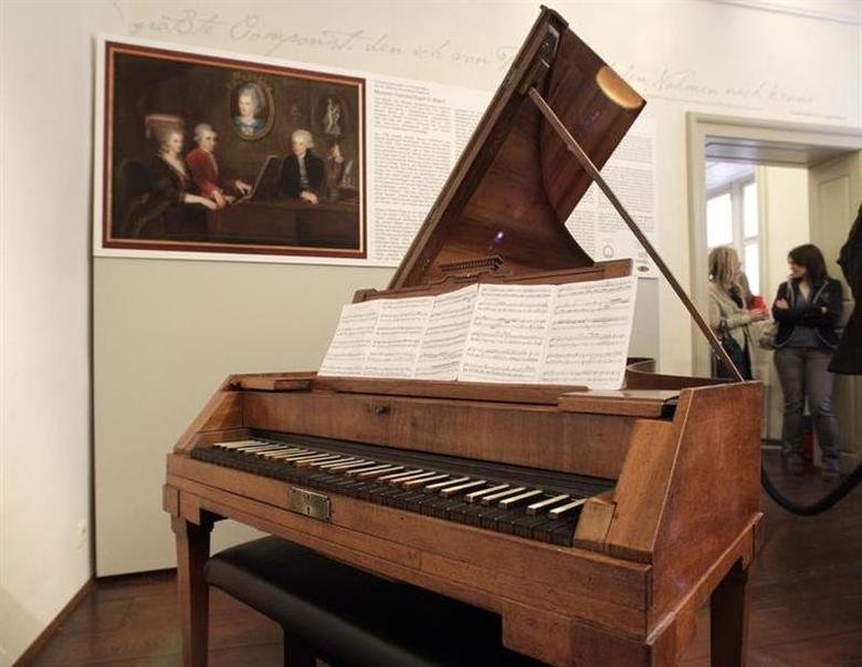 Wolfgang Amadeus Mozart's original Anton-Walter-piano is pictured at Mozart's former apartment in central Vienna October 25, 2012. REUTERS/Herwig Prammer