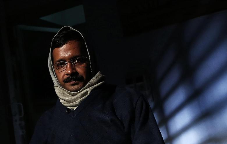 Delhi's Chief Minister Arvind Kejriwal, chief of the Aam Aadmi (Common Man) Party (AAP), poses before the start of an interview with Reuters at his residence on the outskirts of New Delhi January 27, 2014. REUTERS/Adnan Abidi