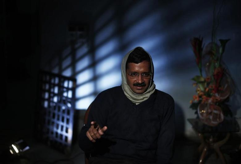 Delhi's Chief Minister Arvind Kejriwal, chief of the Aam Aadmi Party (AAP), speaks during an interview with Reuters at his residence on the outskirts of New Delhi January 27, 2014. REUTERS/Adnan Abidi/Files