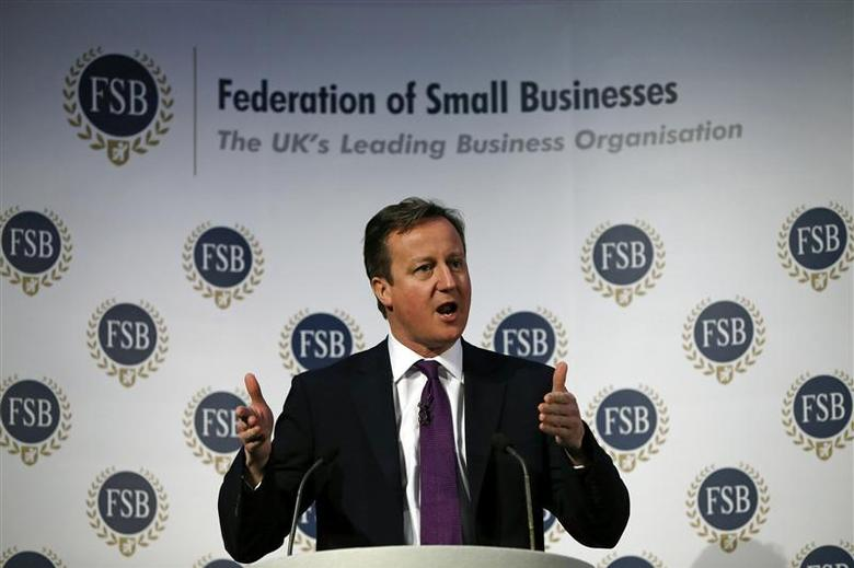 Britain's Prime Minister David Cameron speaks at the Federation of Small Business in London January 27, 2014. REUTERS/Adrian Dennis/pool