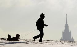 Мужчина катит своего сына на самодельных санях в Москве 26 января 2014 года. Сильные морозы немного ослабеют на территории Москвы в ближайшие выходные, прогнозируют синоптики. REUTERS/Maxim Shemetov