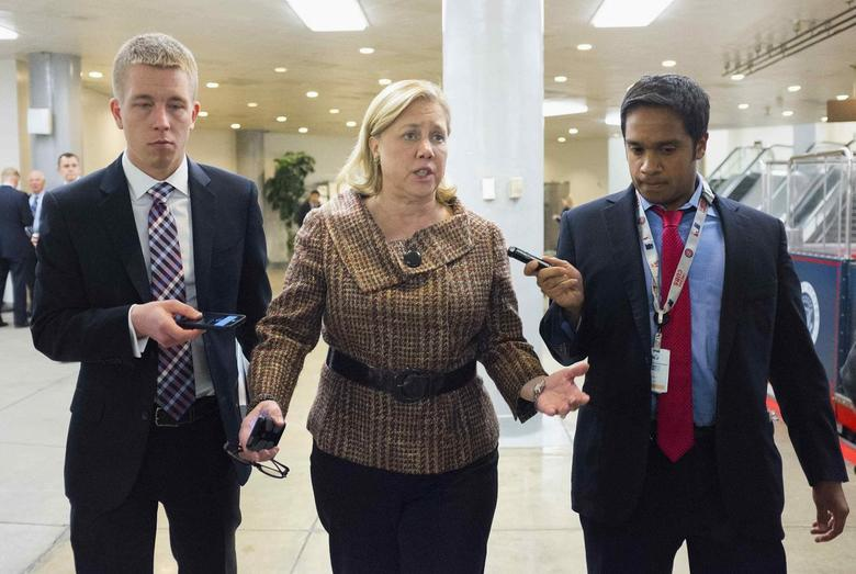 Senator Mary Landrieu (D-LA) speaks to reporters after the Democratic weekly policy luncheon on Capitol Hill in Washington January 28, 2014. REUTERS/Joshua Roberts