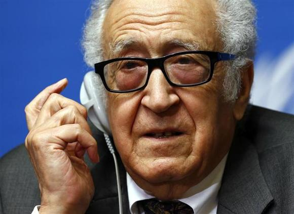 U.N.-Arab League envoy for Syria Lakhdar Brahimi addresses a news conference at the United Nations European headquarters in Geneva January 28, 2014. REUTERS/Denis Balibouse