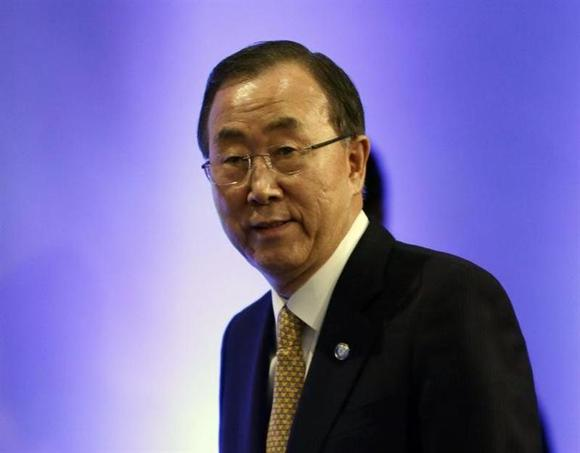 United Nations Secretary-General Ban Ki-moon walks into a news conference in Montreux January 22, 2014. REUTERS/Gary Cameron