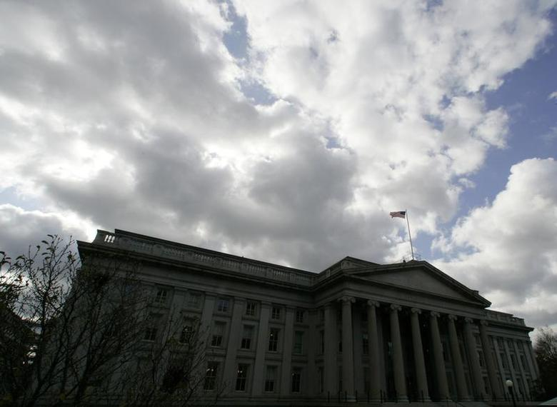 The United States flag flies atop the U.S. Treasury Department in Washington November 18, 2008. REUTERS/Jim Bourg