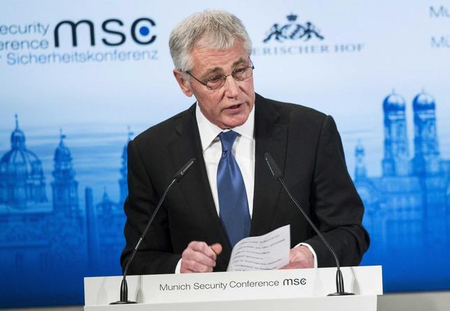 U.S. Defense Secretary Chuck Hagel speaks during the Munich Security Conference at the Bayerischer Hof Hotel in Munich February 1, 2014. REUTERS/Brendan Smialowski/Pool