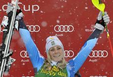 Frida Hansdotter of Sweden celebrates as she won the women's FIS Alpine Skiing World Cup slalom race in Kranjska Gora February 2, 2014. REUTERS/Srdjan Zivulovic