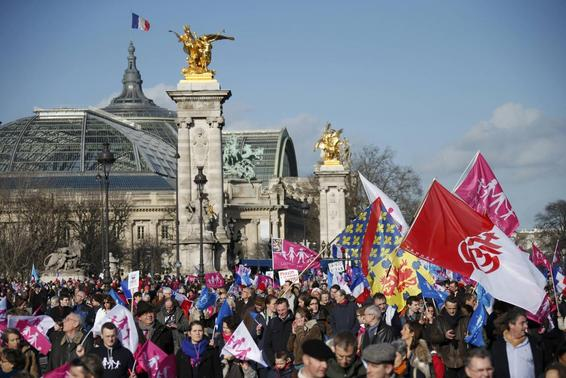 People wave trademark pink. blue and white flags during a protest march called, 'La Manif pour Tous' (Demonstration for All) against France's legalisation of same-sex marriage and to show their support of traditional family values, in Paris February 2, 2014. REUTERS-Benoit Tessier