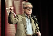 "Director of the movie and cast member Woody Allen speaks on stage at the premiere of ""To Rome with Love"" during the opening night of the Los Angeles Film Festival at the Regal Cinemas in Los Angeles, California June 14, 2012. REUTERS/Mario Anzuoni"