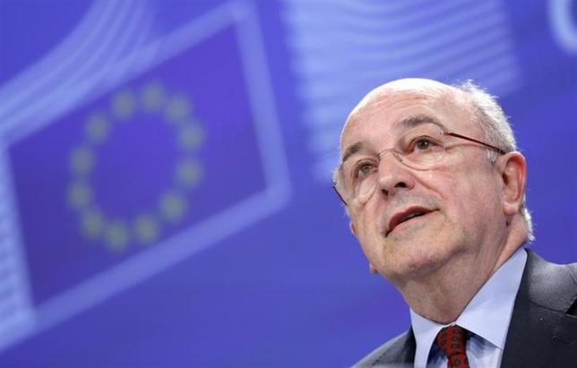 European Union Competition Commissioner Joaquin Almunia speaks during a news conference at the EU Commission headquarters in Brussels January 15, 2014. REUTERS/Francois Lenoir/Files
