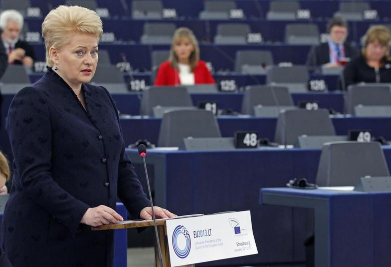 Lithuania's President Dalia Grybauskaite addresses the European Parliament during a debate on the Lithuanian presidency of the EU for the last six months in Strasbourg, January 14, 2014. REUTERS/Vincent Kessler