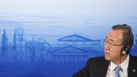 Secretário-geral da ONU, Ban Ki-moon, durante conferência anual sobre segurança, em Munique. Ban fará um discurso na sessão do Comitê Olímpico Internacional (COI) antes do início dos Jogos de Inverno na cidade russa de Sochi, disse o presidente do COI, Thomas Bach, nesta segunda-feira. 1/02/2014. REUTERS/Lukas Barth