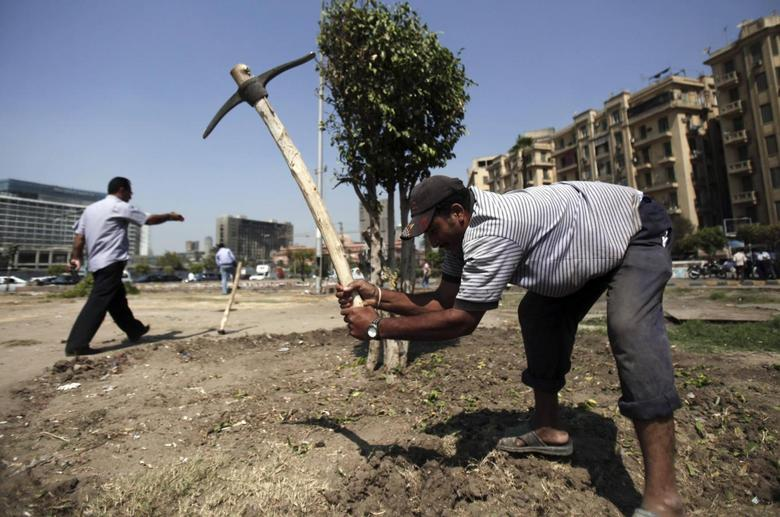 A worker uses a pickaxe as the construction of a garden is begun at Tahrir Square, which had been the epicentre of the country's 2011 uprising, in Cairo September 26, 2013. REUTERS/Amr Abdallah Dalsh