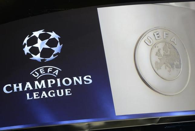 The UEFA Champions League logo is seen during the draw ceremony for the 2013/2014 Champions League Cup soccer competition at Monaco's Grimaldi Forum in Monte-Carlo August 29, 2013. REUTERS/Jean Pierre Amet