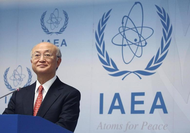 International Atomic Energy Agency (IAEA) Director General Yukiya Amano addresses the media after a board of governors meeting at the IAEA headquarters in Vienna January 24, 2014. REUTERS/Heinz-Peter Bader