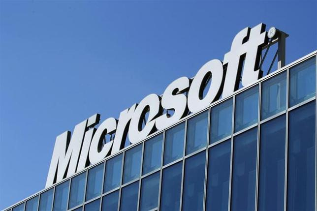 The Microsoft logo is seen at their offices in Bucharest March 20, 2013. REUTERS/Bogdan Cristel/Files