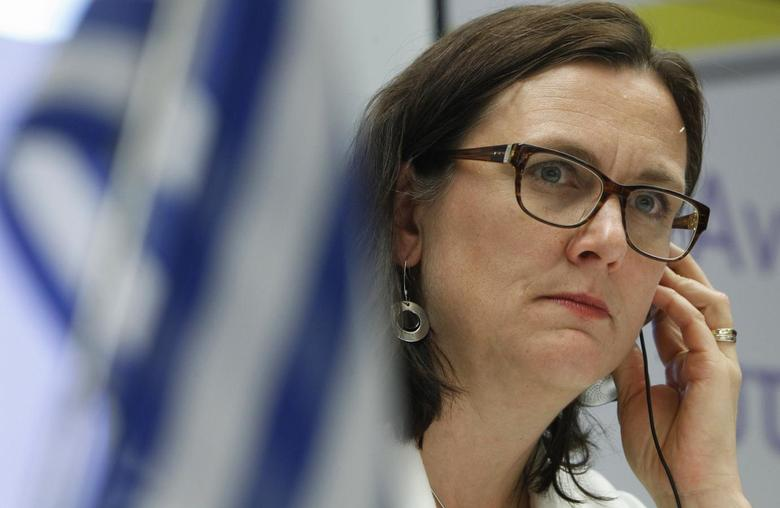 European Home Affairs Commissioner Cecilia Malmstrom listens to a question during a news conference at European Union office in Athens May 14, 2013 file photo. REUTERS/John Kolesidis